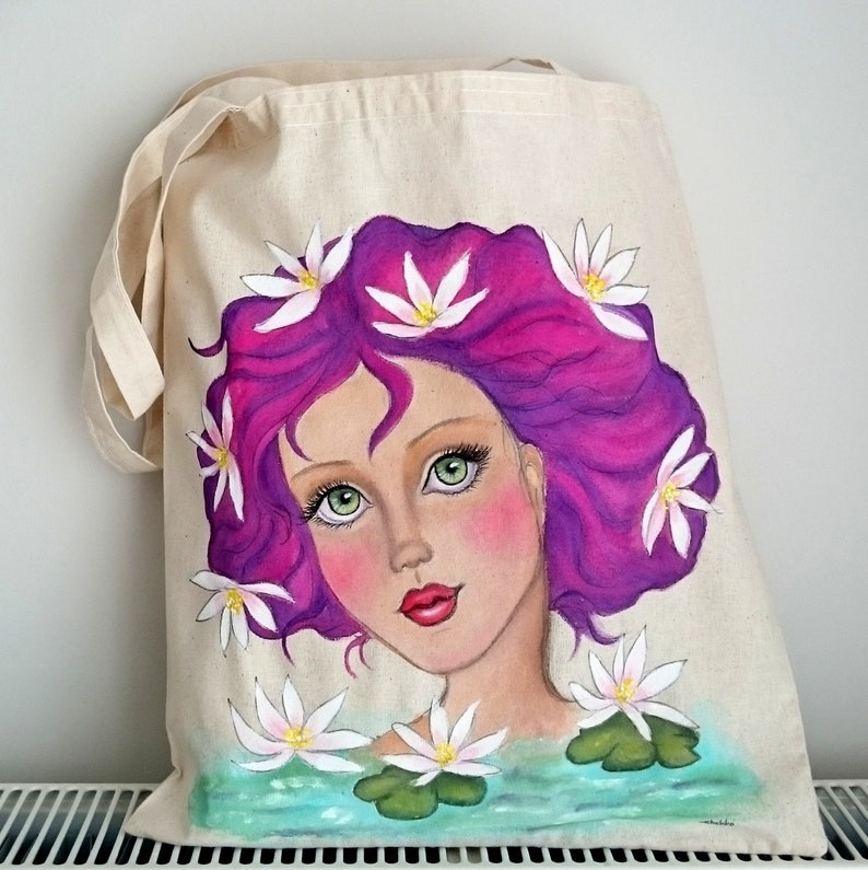 Painted Tote Girl Illustration Tote Birthday Day Gift Lotus Girl Tote Bag