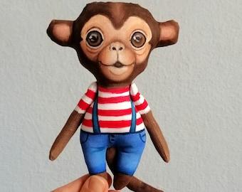 Monkey  Doll, hand painted art doll, pocket doll ,fabric doll , tiny doll, animal totem, monkey art doll