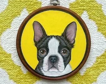 "Custom Pet Portrait - Personalized Pet - Pet Hoop Art - Dog Portrait - Petlover Gift -Gift for Pet lovers - Custom  hoop art 7"""