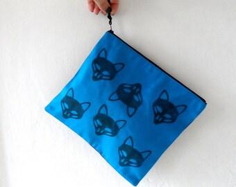 Fox  Clutch / Fox Pouch / Zipper Pouch / Blue handbag / hand stamped bag