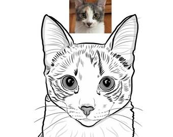 Custom Cat Line Art - DIGITAL File Only, Line Drawing, Pet Portrait Illustration, Line Sketch from Photo, Dog Line Art, Petlover gift