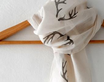 Antler Scarf , woodland cotton yemeni  scarf, hand stamped skinny scarf, fall fashion