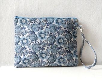 Blue Floral  Clutch  purse, Zip Pouch, wristlet, women  fashion - Summer sale