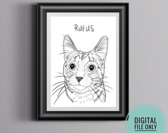 Custom Pet Portrait, Custom Line Art, Pet Portrait Drawing, Personalized Gifts, Custom Digital Pet Illustration   DIGITAL FILE