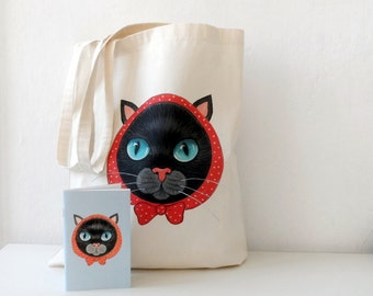 Cat Tote Bag and Notebook Gift set for cat lovers, back to school tote