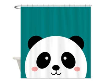 KAWAII PANDA TEAL Kids Shower Curtain