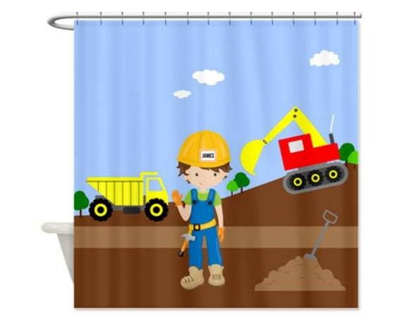 CONSTRUCTION KIDS Personalized Kids Shower Curtain