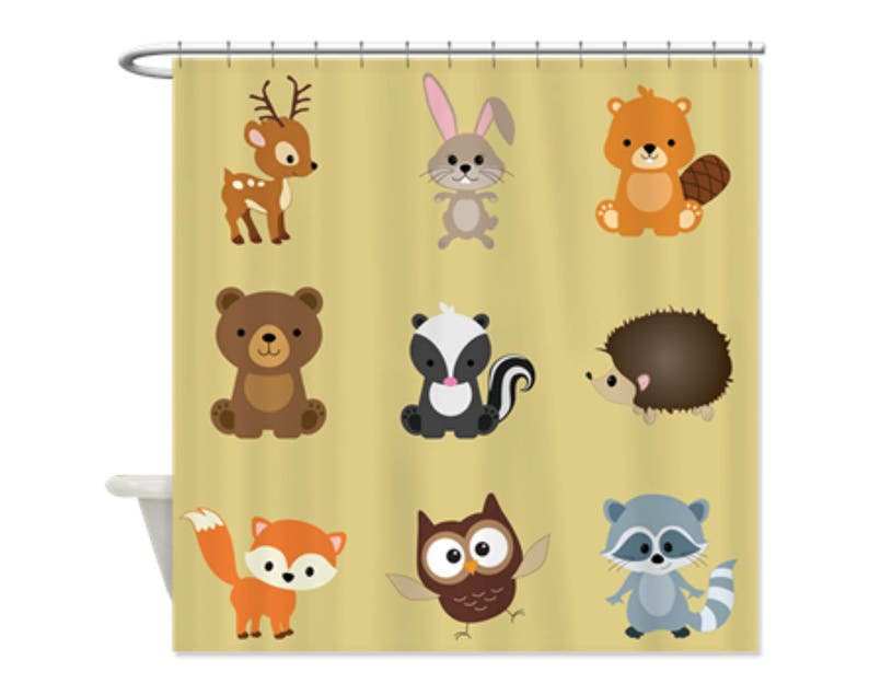 TAN WOODLAND ANIMALS Kids Shower Curtain