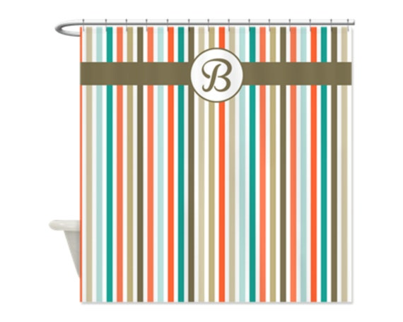COASTAL BEACH STRIPE Personalized Kids Shower Curtain