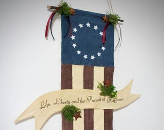Primitive Patriotic American flag | 4th of July decoration | Primitive wall decor | Primitive decor | Patriotic home decor | door greeter
