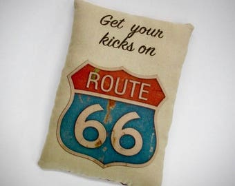 Route 66 Pillow | Accent pillow | USA decoration | Vacation souvenir | Red White Blue decor