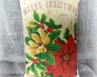 Christmas Pillow Tuck | Poinsettia Pillow | Merry Christmas | Holiday Pillow | Holiday decor | | Christmas decoration | Christmas Pillow