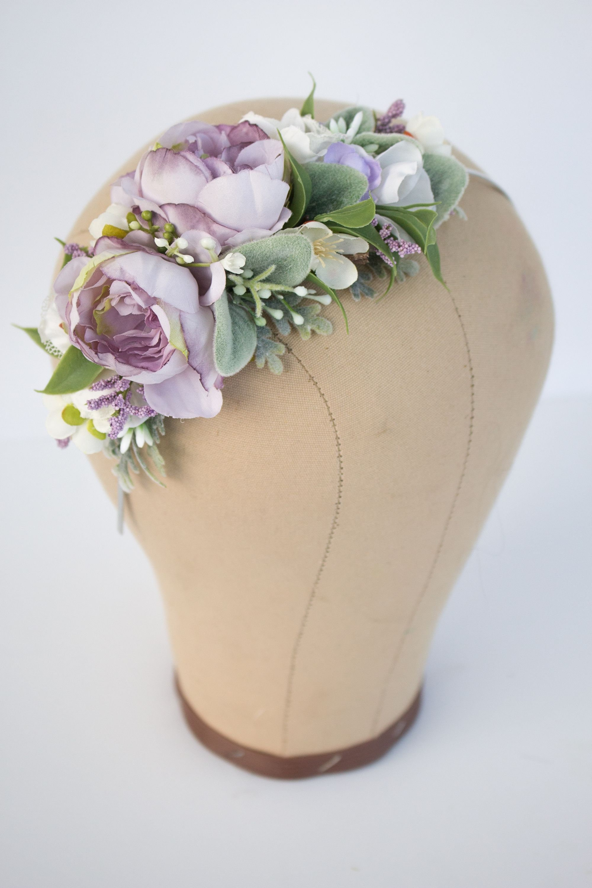 Lavender Purple Flower Headband With White Flowers And Etsy