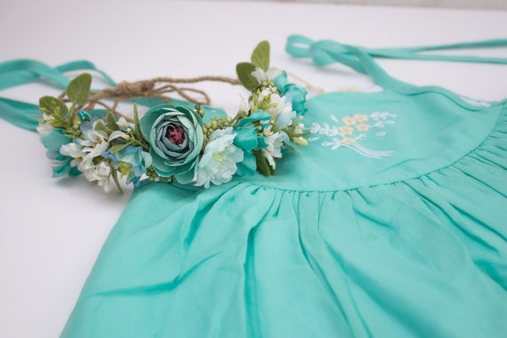 Semi Full Flower Halo Crown Turquoise White Flowers And Etsy