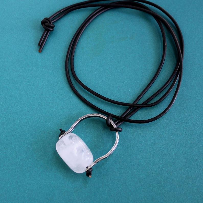 Men/'s Necklace Chunky Quartz Stone on Leather Cord