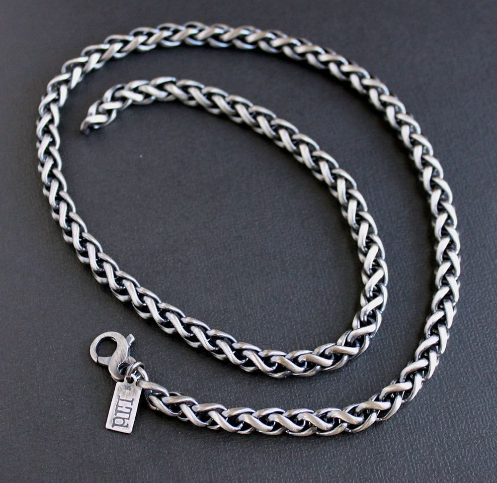 Mens Heavy 6mm Wheat Chain Necklace Mens Sterling Silver