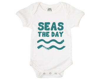 The Spunky Stork Seas The Day Beach Please Organic Cotton Baby Bodysuit Set Baby Boys Baby