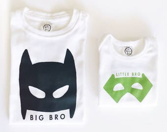 Masked Superhero Big Brother Little Brother - Matching Shirts Set New Sibling