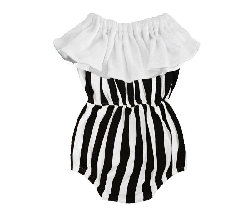 d19dbca33ac9 Organic Cotton Black   White Striped Baby Girl Ruffle Bubble