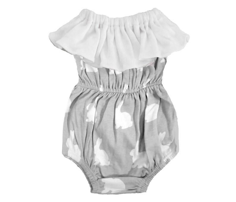 21598dc3cb5b Organic Cotton Grey   White Bunnies Baby Girl Ruffle Bubble