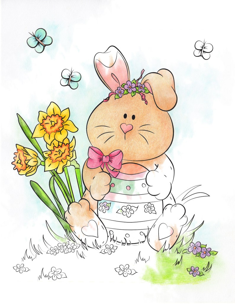 Easter Bunny Printable Coloring Page Digital Stamp