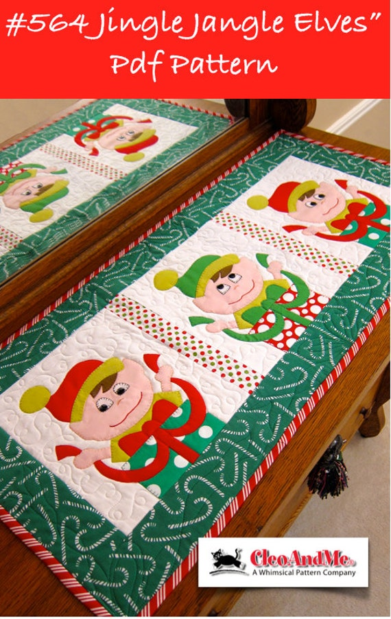 Jingle Jangle Elves quilt pattern - perfect for a Christmas table runner