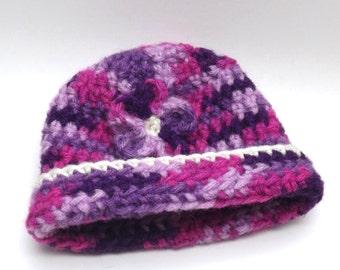 Crochet Hat, Preemie Baby Hat, Baby Girl Hat, Baby Gift,  Pink Hat, Newborn Hat, Baby Beanie, Newborn Gift, Small Crochet Hat, Crochet Gift