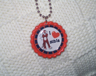 Auburn Tiigers 'I love Aubie' Orange and Blue bottlecap necklace auburn university football fan