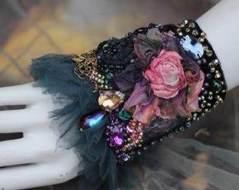 Victorian rose cuff,  bold cuff/wrist wrap with antique laces, bohemian wrist wrap,beading and crystals