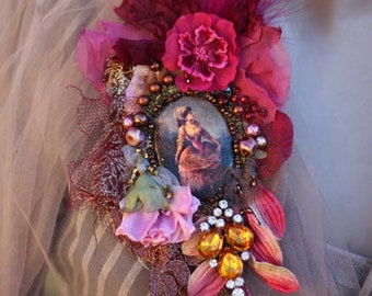 FleursBoheme romantic oversize brooch/pendant necklace, with antique trims and lace, embroidered and beaded , mixed media, cameo pin