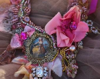 "FleursBoheme  assemblage necklace ""Baroquish"" hand stitched statement necklace, from antique/vintage textiles, vintage finds, crystals"