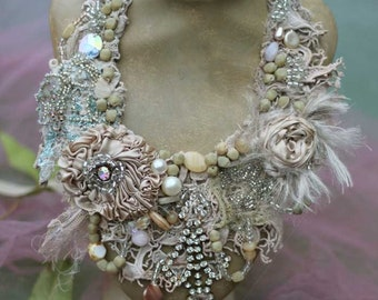 "FleursBoheme  assemblage necklace ""Eclectic "" hand stitched statement necklace, from antique/vintage textiles, vintage finds, crystals"