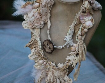 eco dyed/plant dyed brocante garland - long boho chic statement necklace/wrap,  romantic necklace, from vintage textiles,  gift for her