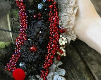 FleursBoheme boho chic cuff, embroidered wrist wrap with antique laces, bohemian romantic , beaded, romantic gift,