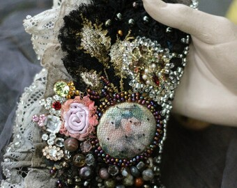 "FleursBoheme boho chic cuff, embroidered wrist wrap ""Barocco"" -  with antique laces, bohemian romantic , beaded, romantic gift,"