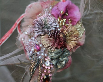 FleursBoheme boho chic necklace/corsage - ornate brooch or pendant, old laces, embroidered and beaded pin, mixed media, gift for her