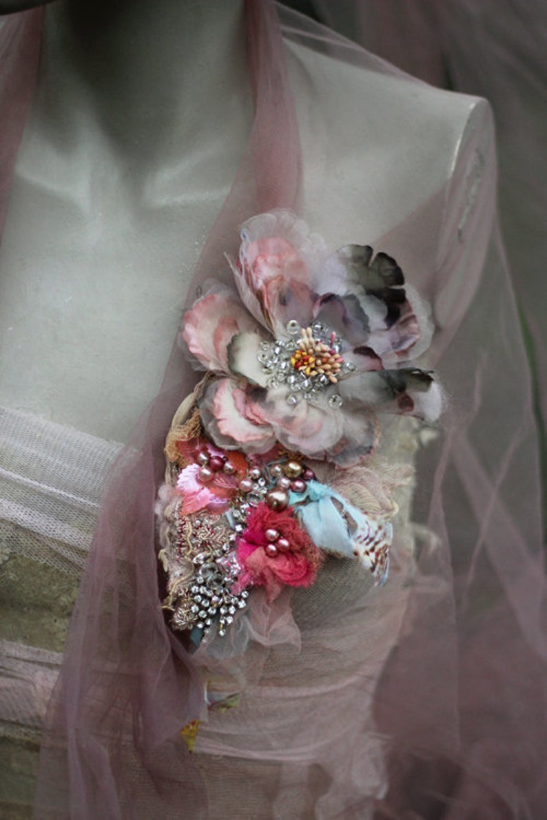 Vintage Peony corsage gift for her vintage lace mixed media embroidered and beaded brooch bold ornate brooch hand dyed silk