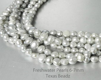 Silver Gray Freshwater Pearls 6mm - 7mm Loose Pearls Potato Pearl Beads Nugget Pearl