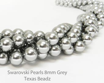 50 Pcs 8mm Gray Swarovski Pearls Round Grey Pearl Beads Crystal Glass Pearls Gray Pearls Elements 5810 DIY Weddings