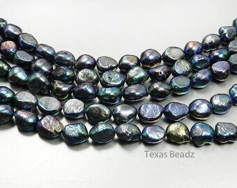 Black Pearls Freshwater Pearls Iridescent Peacock Flat Back Nugget Beads 11mm x 8mm Loose Pearl Beads