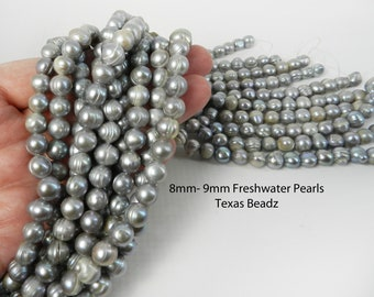 Gray Freshwater Pearls 8mm - 9mm Loose Pearls Baroque Pearl Beads Banded Real Pearl Strands DIY Wedding Supplies
