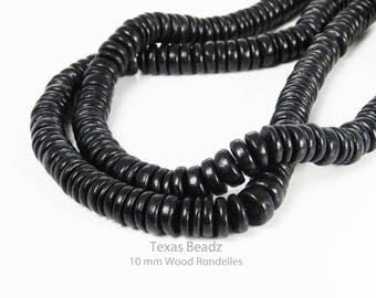 Black Wood Beads Rondelle Beads 10mm x 3mm Wooden Beads