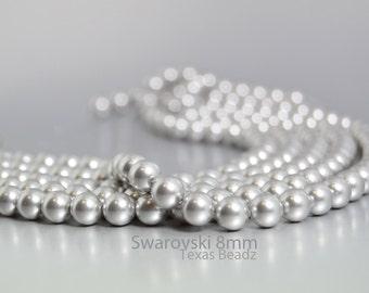 50 Pcs 8mm Gray Swarovski Pearls Light Grey Round Silver Pearls Crystal Glass Pearls Elements 5810 DIY Weddings