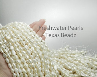 Freshwater Pearl Beads Baroque Pearls 12mm x 8mm Loose Pearls White Flat Back Nugget Pearl