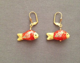 fish earrings in red and yellow