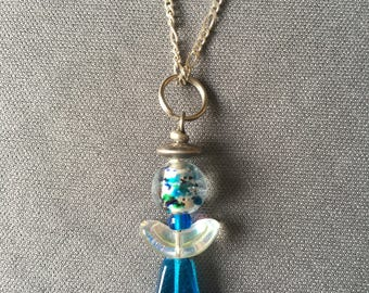 angel necklace in blue and silver