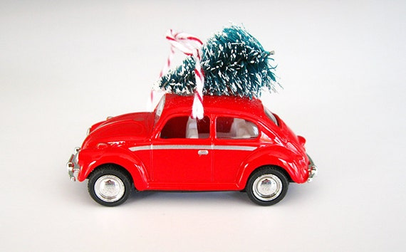 VW Bug Beetle Christmas Ornament with Tree on Top - VW Bug Beetle Christmas Ornament With Tree On Top Etsy