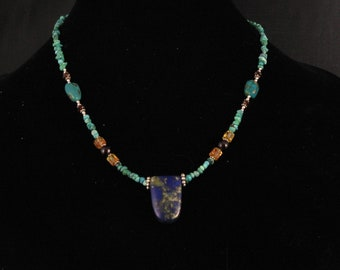 19.5 Lapis Lazuli pendant with Turquoise, Citrine and Garnet. Sterling Clasp. AMAZING.