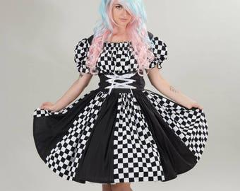 Harlequin Circus Clown Costume Mardi Gras Dress Halloween Adult Womens Black & White Checkered Custom Size including Plus Sizes