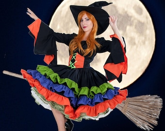 Couture Witch Dress Ruffles Flared Sleeves Halloween Costume Womens Adults Custom Size Including Plus High Quality Unique Black Orange Green
